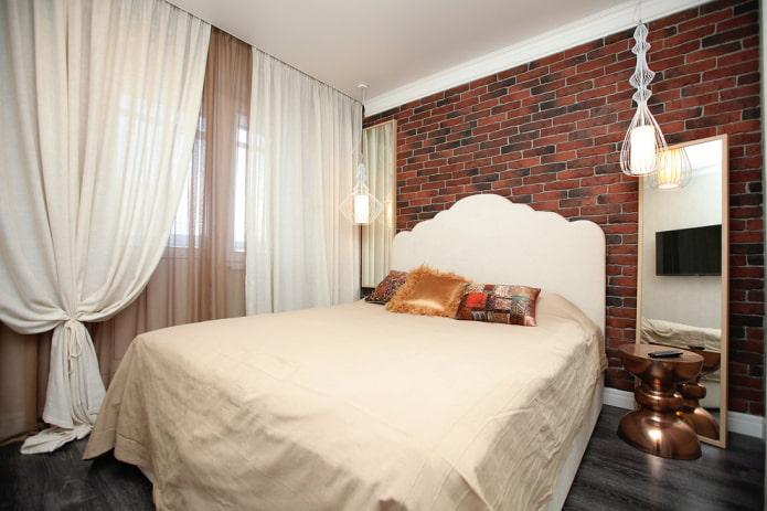 спальная комната в стиле лофт в хрущевке