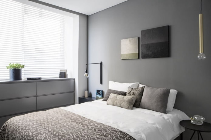 спальная комната в стиле минимализм в хрущевке