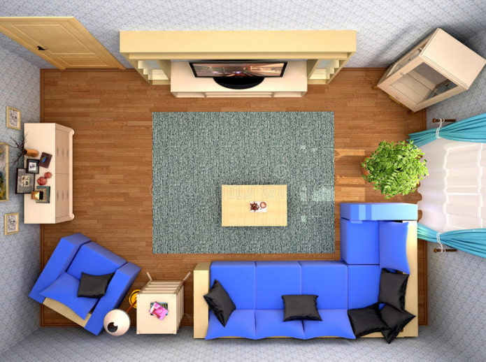 планировка гостиной вид сверху