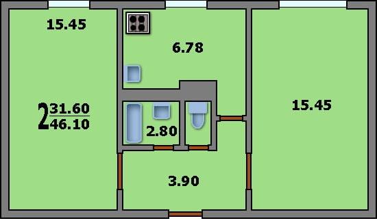 планировка 2-комнатной хрущевки серии К-7