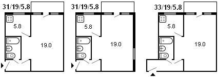 планировка 1-комнатной хрущевки серии 464