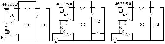 планировка 2-комнатной хрущевки серии 464