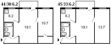 планировка 2-комнатной хрущевки серии 1-335