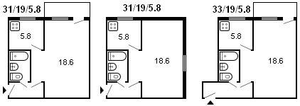 планировка 1-комнатной хрущевки серии 434 1958 г.