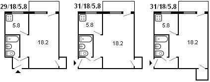 планировка 1-комнатной хрущевки серии 434 1959 г.