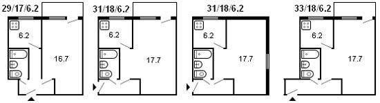планировка 1-комнатной хрущевки серии 434 1960 г.