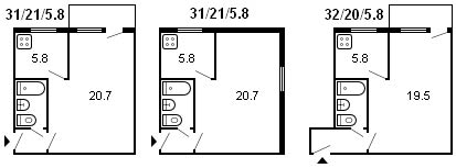 планировка 1-комнатной хрущевки серии 434 1964 г.
