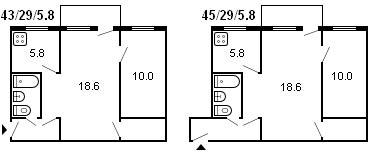 планировка 2-комнатной хрущевки серии 434 1958 г.