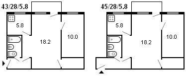 планировка 2-комнатной хрущевки серии 434 1959 г.