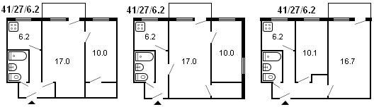 планировка 2-комнатной хрущевки серии 434 1960 г.