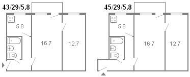планировка 2-комнатной хрущевки серии 434 1961 г.