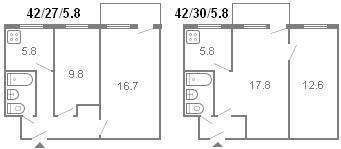планировка 2-комнатной хрущевки серии 434 1964 г.