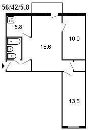 планировка 3-комнатной хрущевки серии 434 1958 г.
