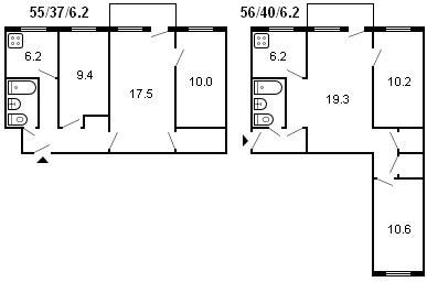планировка 3-комнатной хрущевки серии 434 1960 г.