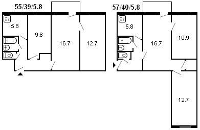 планировка 3-комнатной хрущевки серии 434 1961 г.