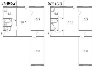 планировка 3-комнатной хрущевки серии 434 1964 г.