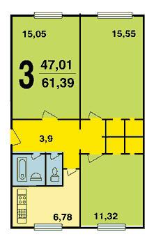 планировка 3-комнатной хрущевки серии К-7