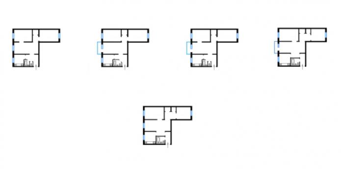 планировки 3-комнатных квартир дома серии 438
