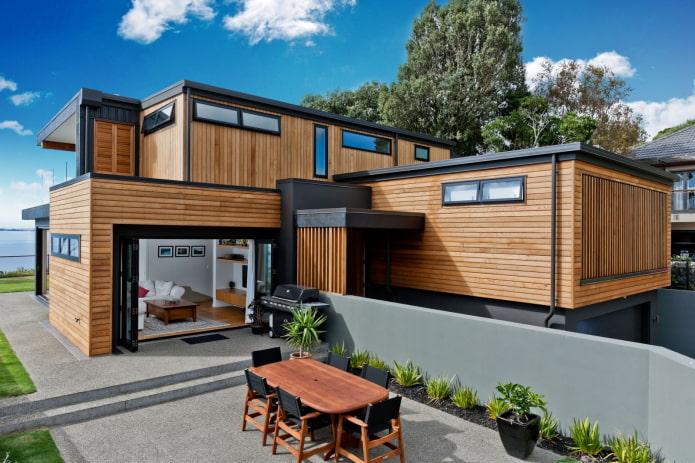деревянный дом в стилистике хай-тек