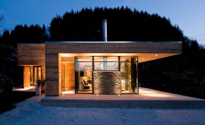 одноэтажный дом в стилистике хай-тек