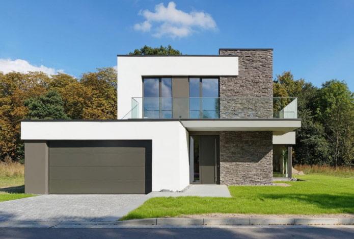 дом с плоской крышей в стилистике хай-тек