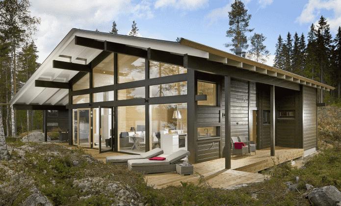 одноэтажный дом в стиле фахверк