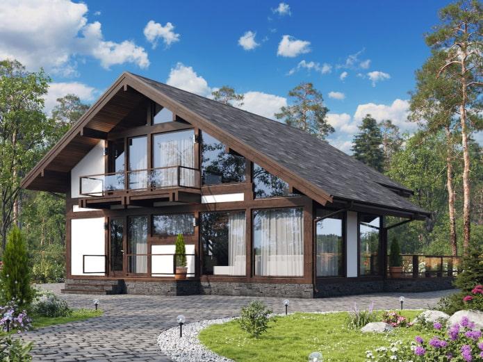 дом в стиле фахверк с мансардой