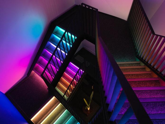 дизайн лестницы с подсветкой