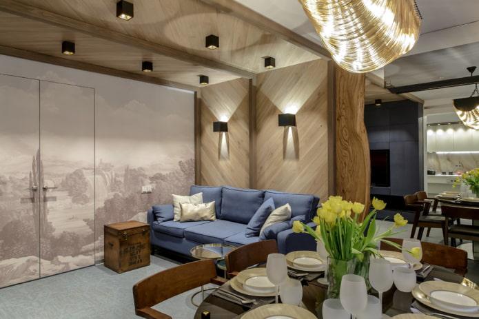 споты в дизайне гостиной