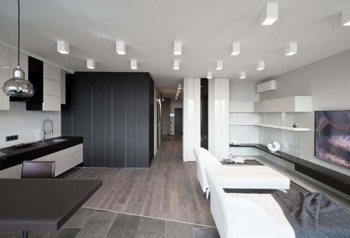накладные споты в дизайне помещения