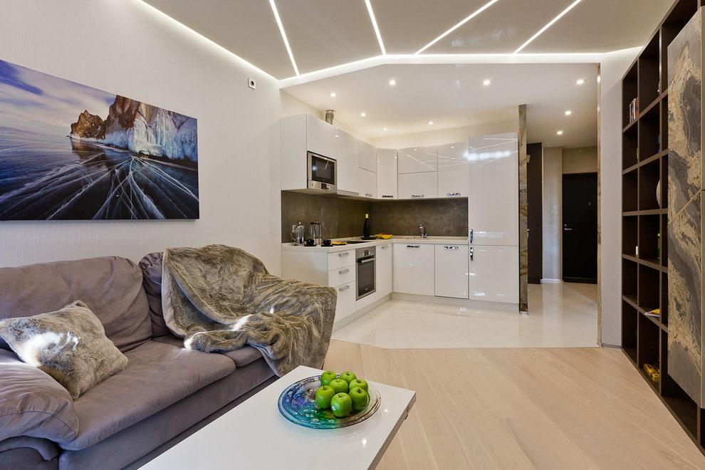 Натяжной потолок на кухне гостиная дизайн фото