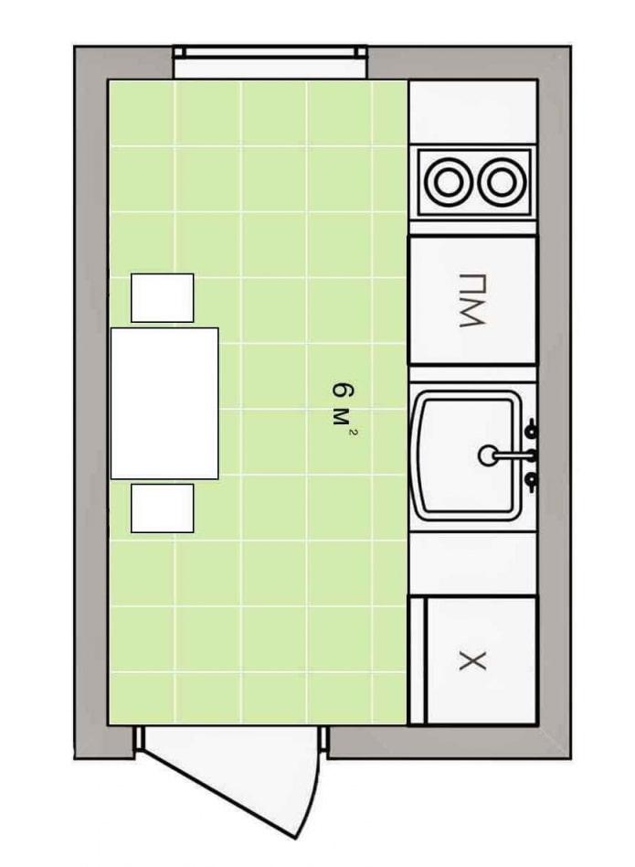 планировка кухни площадью 6 квадратов