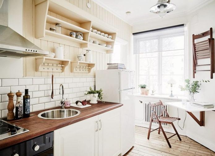 кухня площадью 6 квадратов в скандинавском стиле