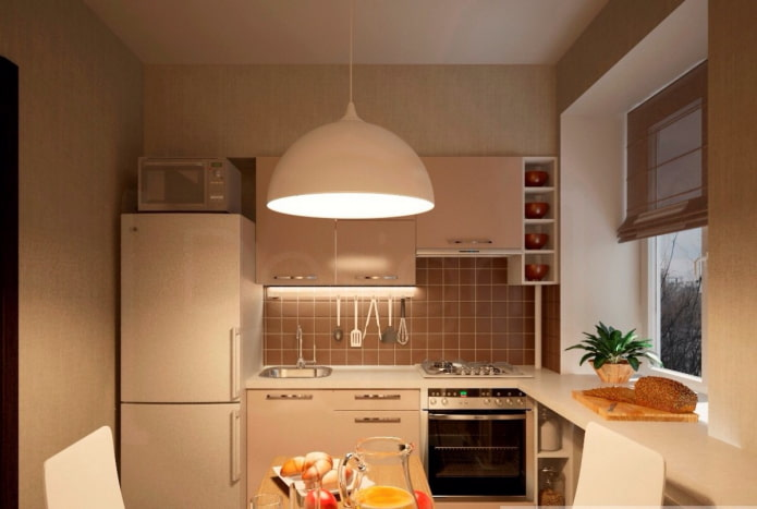 освещение на кухне площадью 6 квадратов