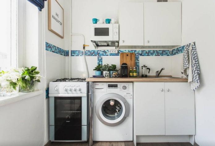 кухня площадью 6 квадратов со стиральной машинкой