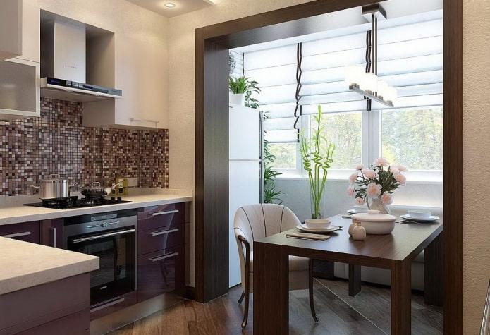 интерьер кухни площадью 8 кв с балконом