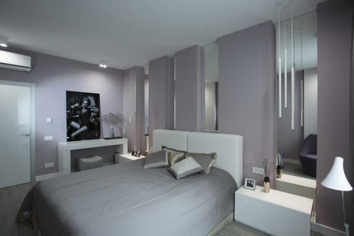 интерьер серо-белой спальни