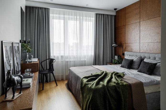 дизайн серо-коричневой спальни