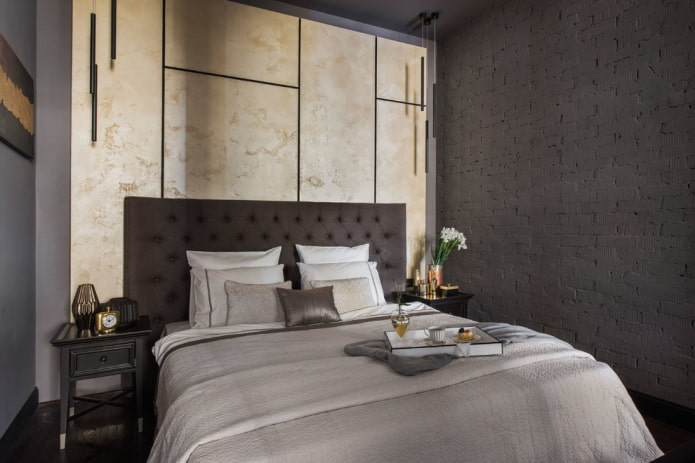 интерьер серо-бежевой спальни