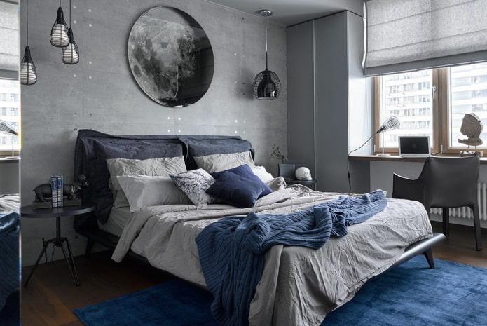 дизайн серо-синей спальни