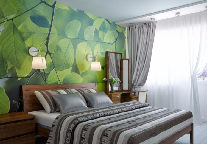 интерьер серо-зеленой спальни