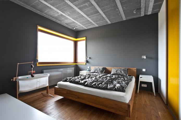 отделка серой спальной комнаты