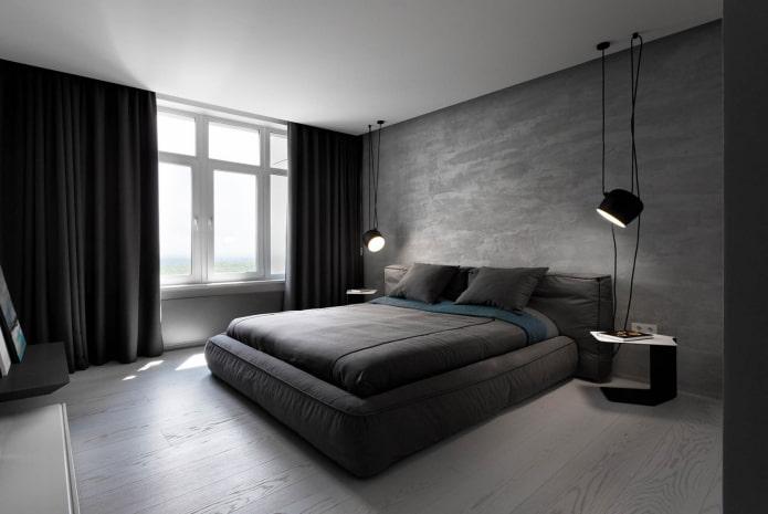 дизайн серо-черной спальни