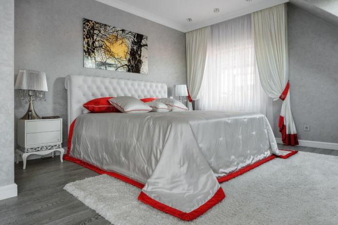 дизайн интерьера серой спальни