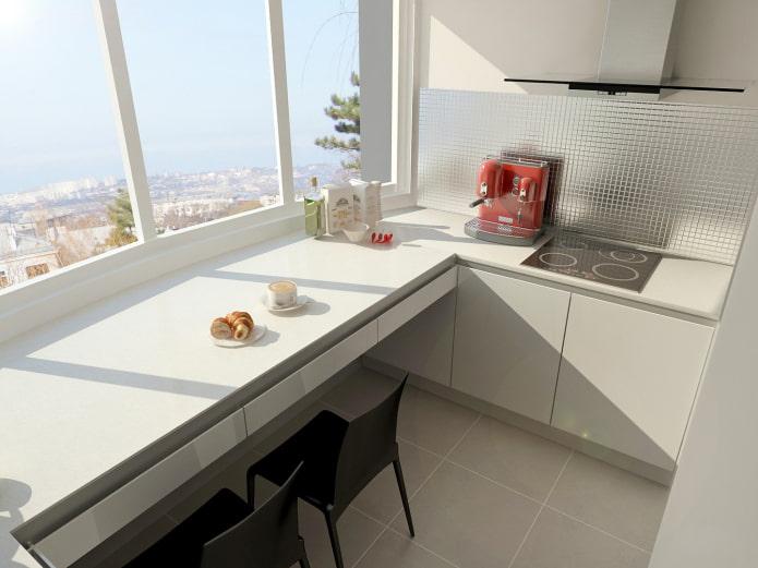дизайн кухни с обеденной зоной на балконе
