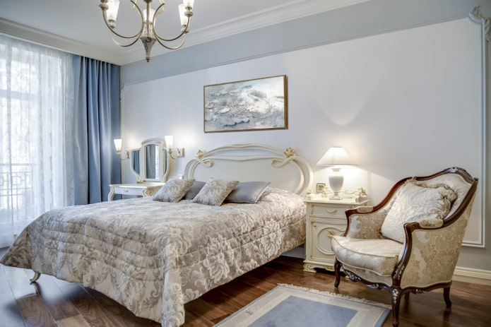 мебель и аксессуары в спальне в классической стилистике