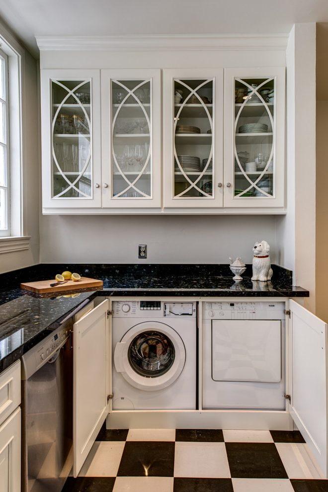 стиралка в угловой кухне