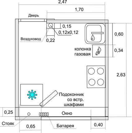 план кухни с газовой колонкой