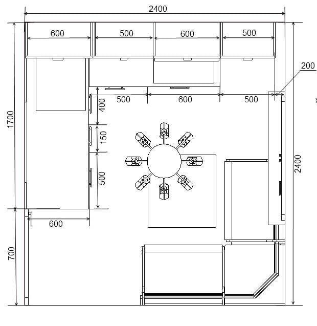 схема кухни с диваном