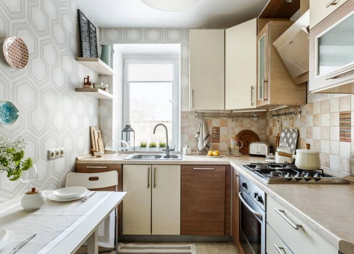 геометрические обои на кухне